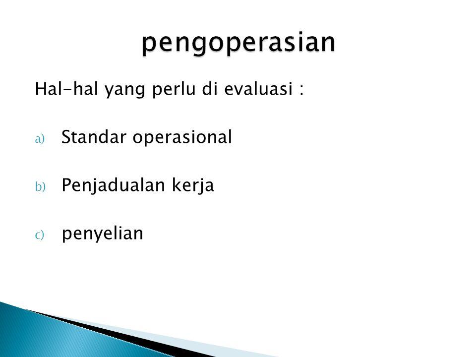 Hal-hal yang perlu di evaluasi : a) Standar operasional b) Penjadualan kerja c) penyelian