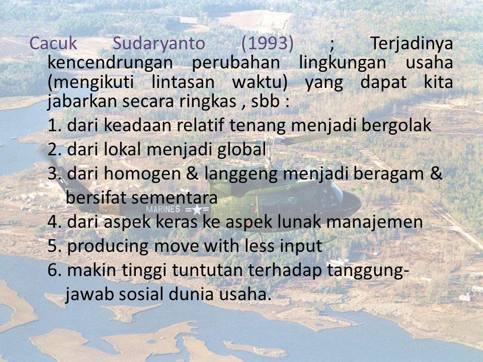 Cacuk Sudaryanto (1993) ; Terjadinya kencendrungan perubahan lingkungan usaha (mengikuti lintasan waktu) yang dapat kita jabarkan secara ringkas, sbb : 1.