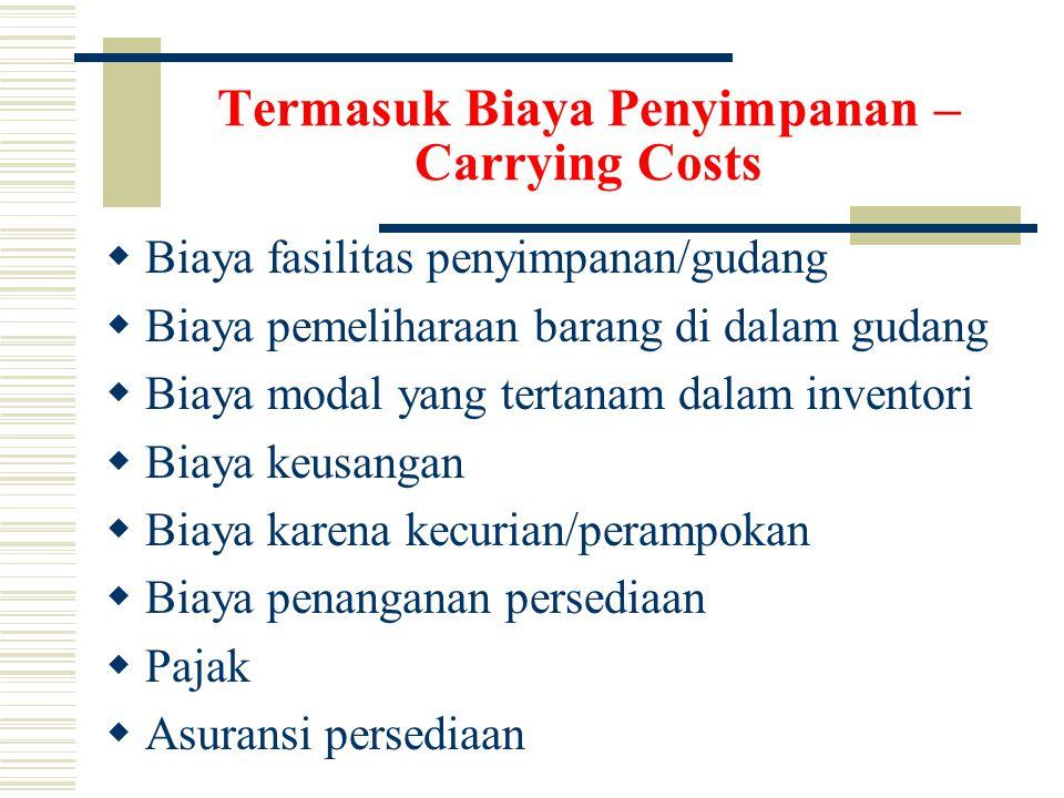 Termasuk Biaya Penyimpanan – Carrying Costs  Biaya fasilitas penyimpanan/gudang  Biaya pemeliharaan barang di dalam gudang  Biaya modal yang tertanam dalam inventori  Biaya keusangan  Biaya karena kecurian/perampokan  Biaya penanganan persediaan  Pajak  Asuransi persediaan