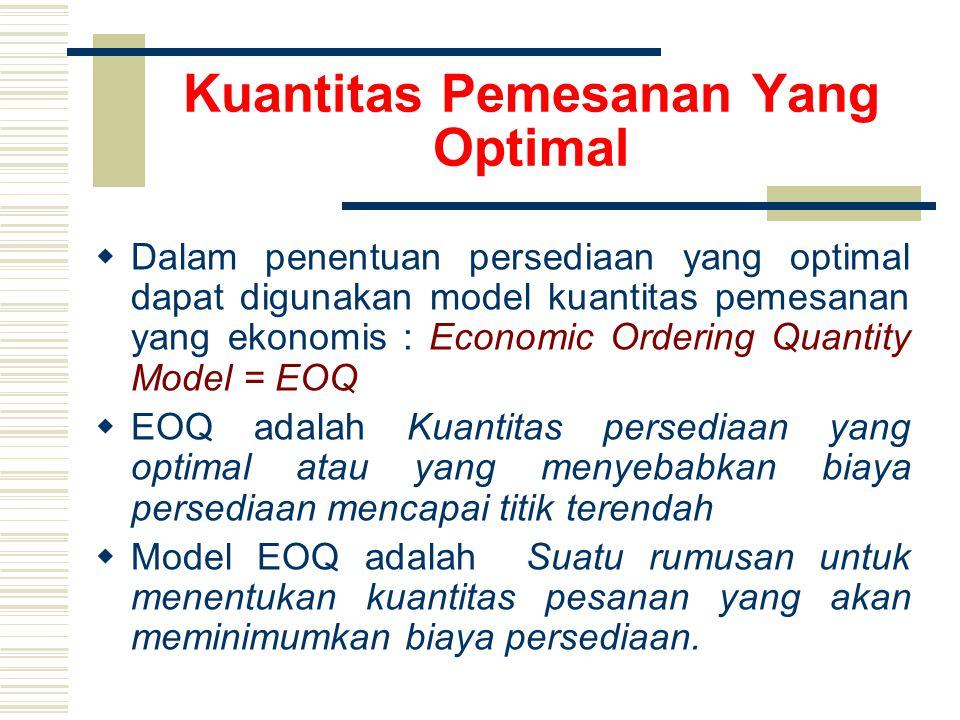 Kuantitas Pemesanan Yang Optimal  Dalam penentuan persediaan yang optimal dapat digunakan model kuantitas pemesanan yang ekonomis : Economic Ordering Quantity Model = EOQ  EOQ adalah Kuantitas persediaan yang optimal atau yang menyebabkan biaya persediaan mencapai titik terendah  Model EOQ adalah Suatu rumusan untuk menentukan kuantitas pesanan yang akan meminimumkan biaya persediaan.
