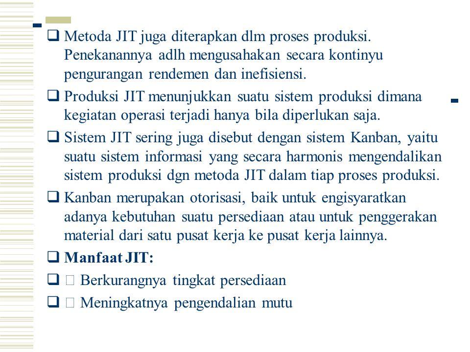  Metoda JIT juga diterapkan dlm proses produksi.