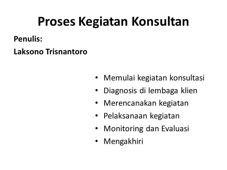 Proses Kegiatan Konsultan • Memulai kegiatan konsultasi • Diagnosis di lembaga klien • Merencanakan kegiatan • Pelaksanaan kegiatan • Monitoring dan E