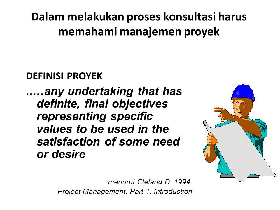 Dalam melakukan proses konsultasi harus memahami manajemen proyek DEFINISI PROYEK..…any undertaking that has definite, final objectives representing s