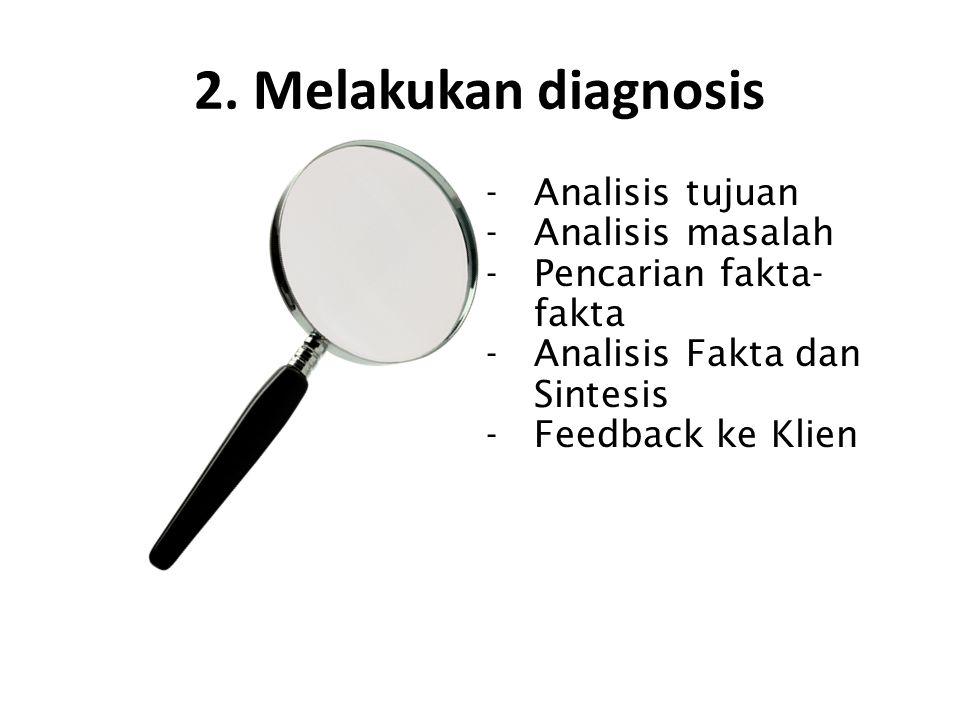 2. Melakukan diagnosis -Analisis tujuan -Analisis masalah -Pencarian fakta- fakta -Analisis Fakta dan Sintesis -Feedback ke Klien
