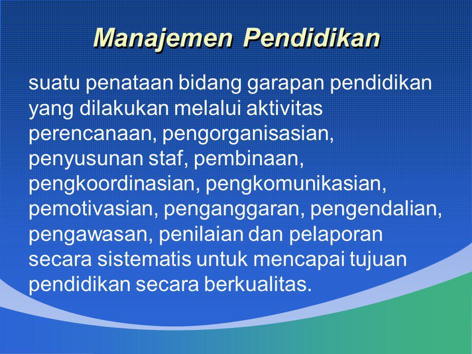 Manajemen Pendidikan suatu penataan bidang garapan pendidikan yang dilakukan melalui aktivitas perencanaan, pengorganisasian, penyusunan staf, pembina
