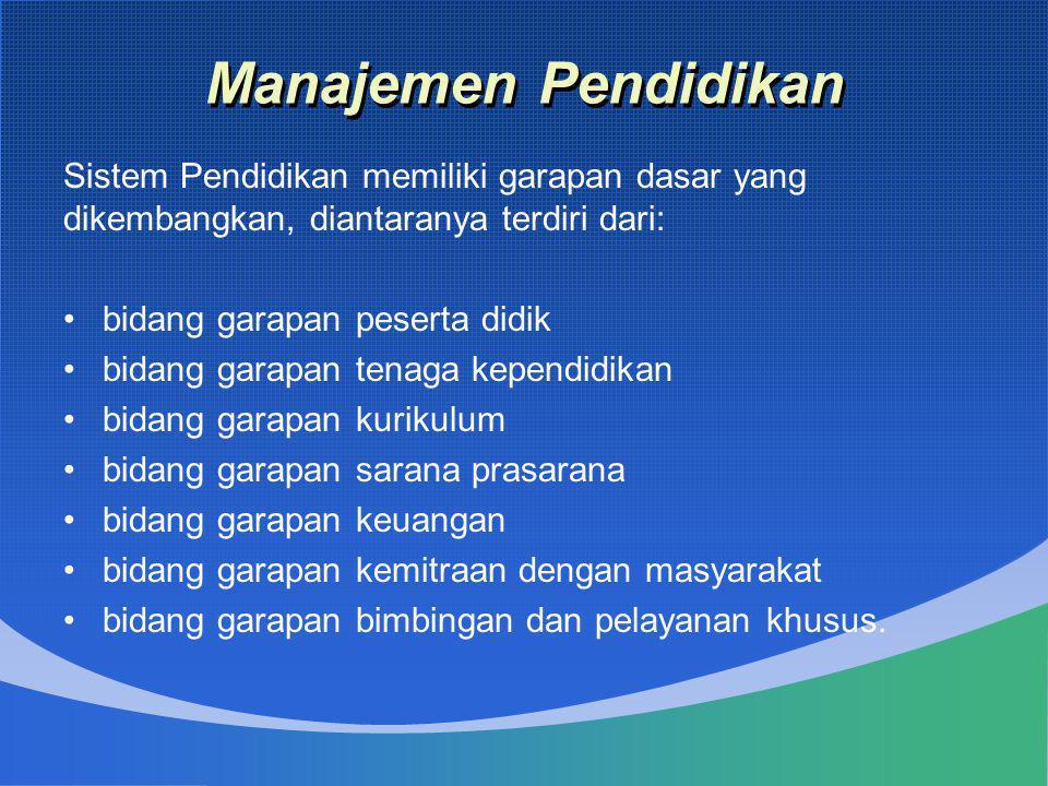 Manajemen Pendidikan Sistem Pendidikan memiliki garapan dasar yang dikembangkan, diantaranya terdiri dari: •bidang garapan peserta didik •bidang garap