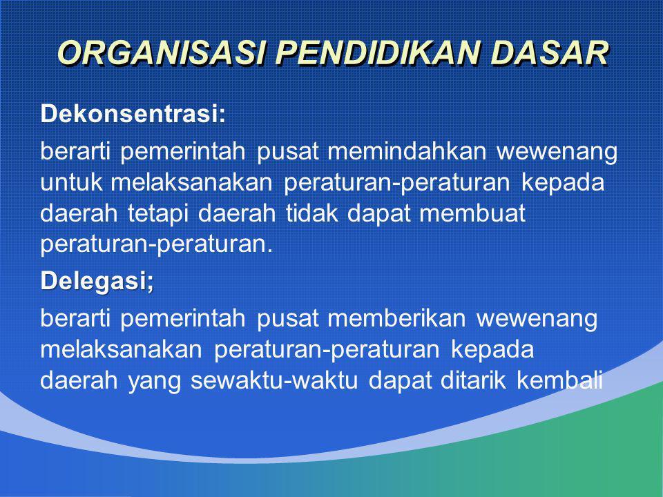 ORGANISASI PENDIDIKAN DASAR Dekonsentrasi: berarti pemerintah pusat memindahkan wewenang untuk melaksanakan peraturan-peraturan kepada daerah tetapi d