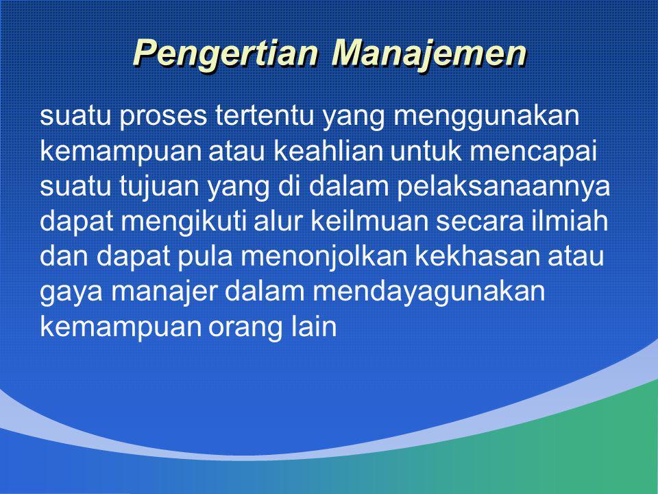 Pengertian Manajemen suatu proses tertentu yang menggunakan kemampuan atau keahlian untuk mencapai suatu tujuan yang di dalam pelaksanaannya dapat men