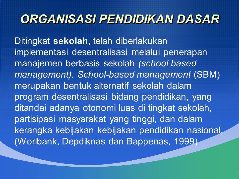 ORGANISASI PENDIDIKAN DASAR Ditingkat sekolah, telah diberlakukan implementasi desentralisasi melalui penerapan manajemen berbasis sekolah (school bas