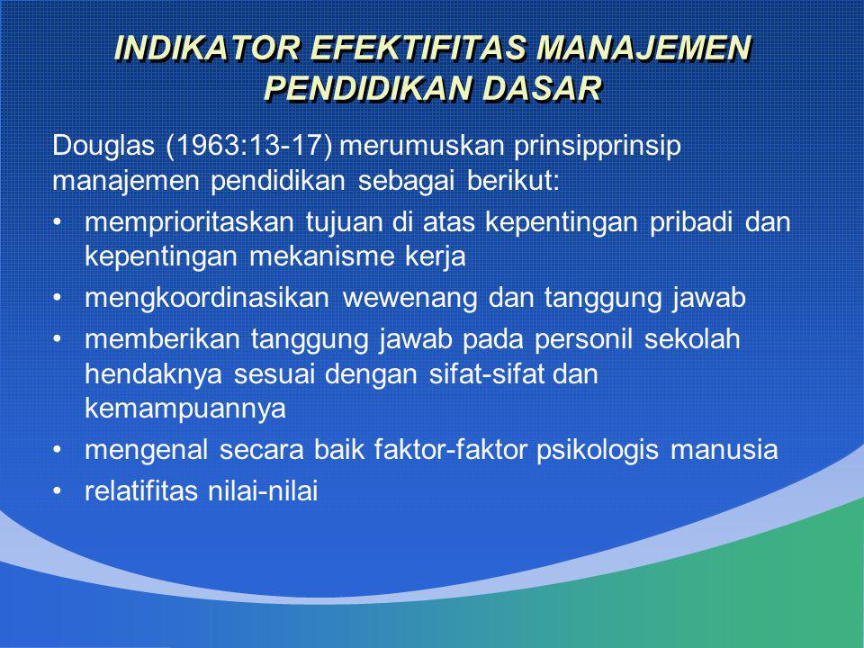 INDIKATOR EFEKTIFITAS MANAJEMEN PENDIDIKAN DASAR Douglas (1963:13-17) merumuskan prinsipprinsip manajemen pendidikan sebagai berikut: •memprioritaska