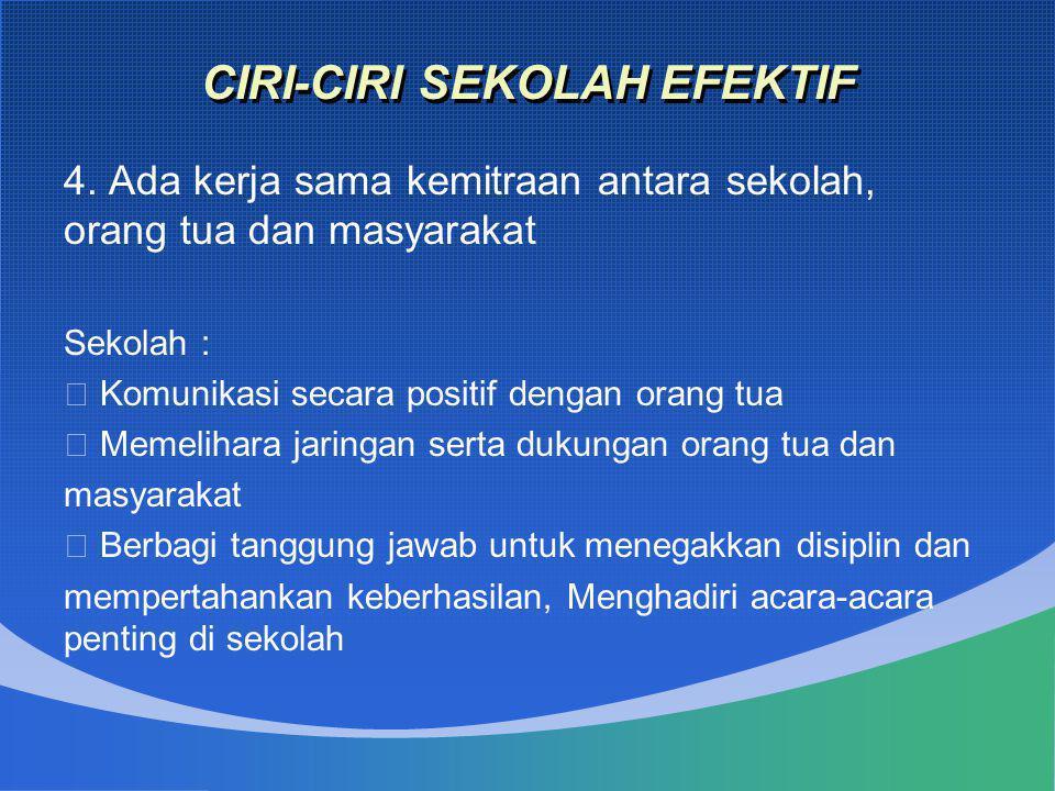 CIRI-CIRI SEKOLAH EFEKTIF 4. Ada kerja sama kemitraan antara sekolah, orang tua dan masyarakat Sekolah :  Komunikasi secara positif dengan orang tua