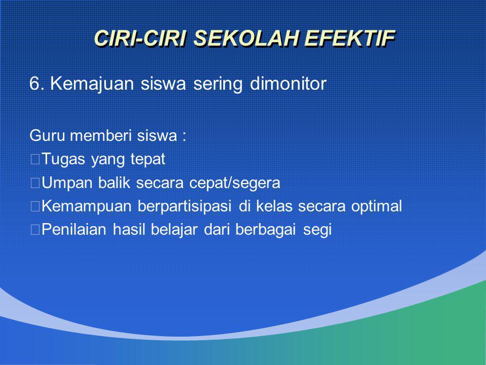 CIRI-CIRI SEKOLAH EFEKTIF 6. Kemajuan siswa sering dimonitor Guru memberi siswa :  Tugas yang tepat  Umpan balik secara cepat/segera  Kemampuan ber