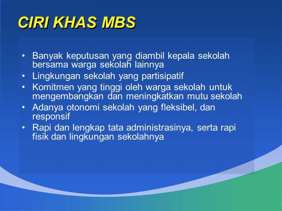 CIRI KHAS MBS •Banyak keputusan yang diambil kepala sekolah bersama warga sekolah lainnya •Lingkungan sekolah yang partisipatif •Komitmen yang tinggi