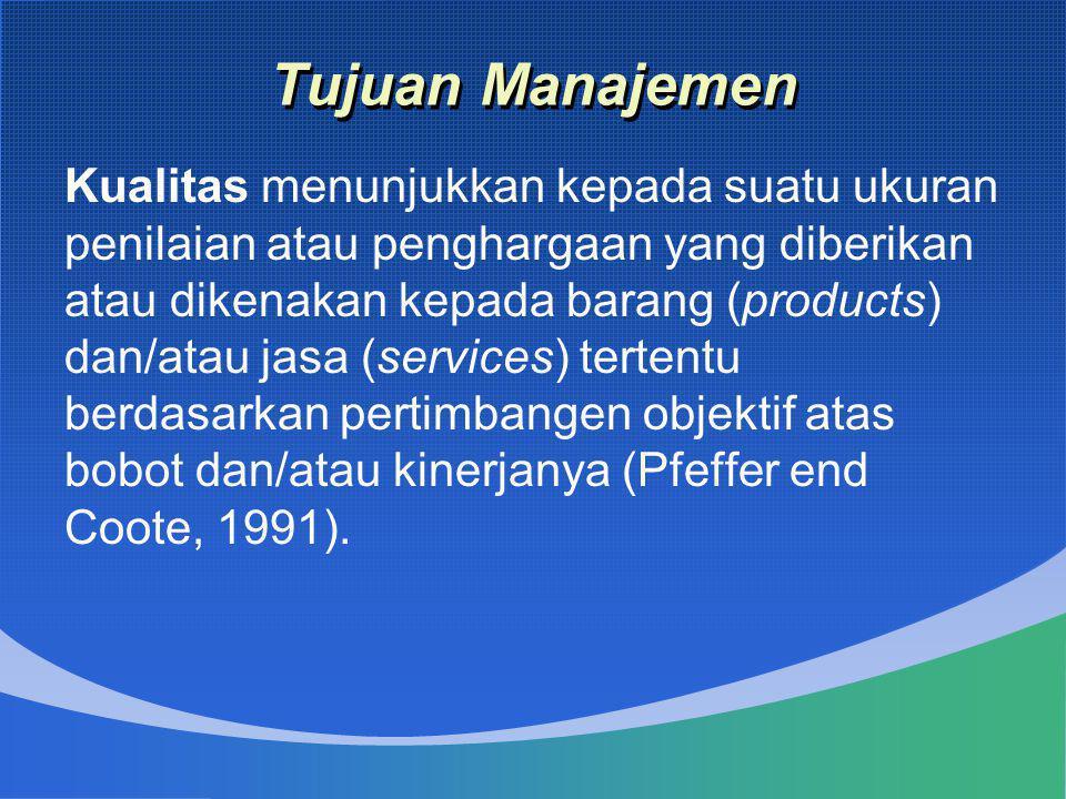 Tujuan Manajemen Kualitas menunjukkan kepada suatu ukuran penilaian atau penghargaan yang diberikan atau dikenakan kepada barang (products) dan/atau j