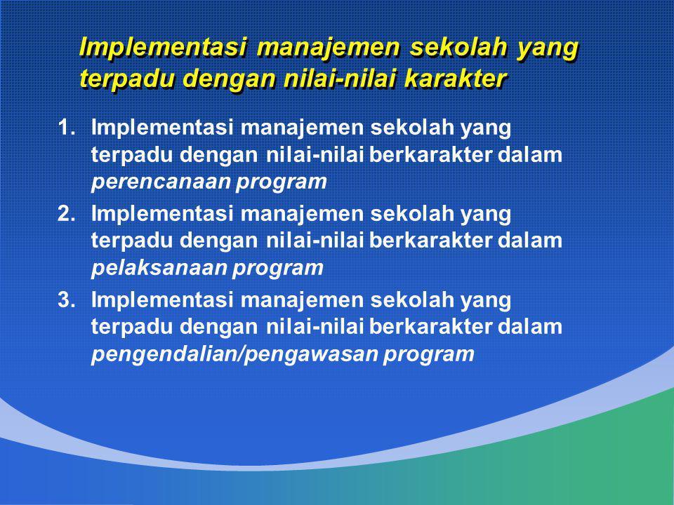 1.Implementasi manajemen sekolah yang terpadu dengan nilai-nilai berkarakter dalam perencanaan program 2.Implementasi manajemen sekolah yang terpadu d