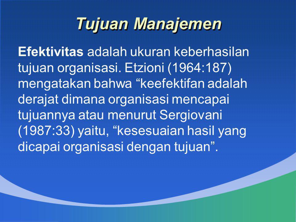 """Tujuan Manajemen Efektivitas adalah ukuran keberhasilan tujuan organisasi. Etzioni (1964:187) mengatakan bahwa """"keefektifan adalah derajat dimana orga"""