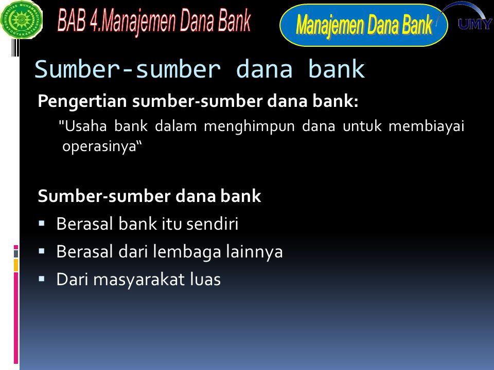 Sumber-sumber dana bank Pengertian sumber-sumber dana bank: Usaha bank dalam menghimpun dana untuk membiayai operasinya Sumber-sumber dana bank  Berasal bank itu sendiri  Berasal dari lembaga lainnya  Dari masyarakat luas