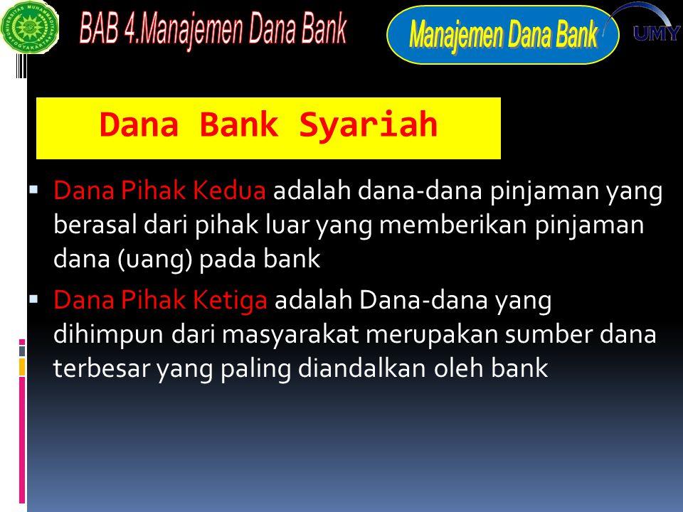 Dana Bank Syariah  Dana Pihak Kedua adalah dana-dana pinjaman yang berasal dari pihak luar yang memberikan pinjaman dana (uang) pada bank  Dana Pihak Ketiga adalah Dana-dana yang dihimpun dari masyarakat merupakan sumber dana terbesar yang paling diandalkan oleh bank