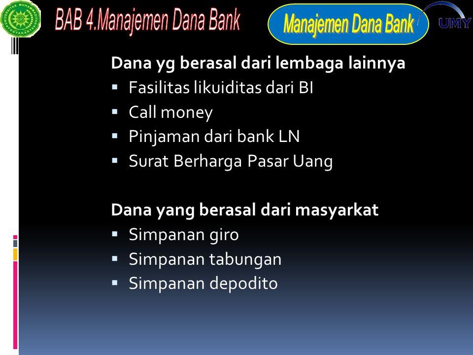 Dana yg berasal dari lembaga lainnya  Fasilitas likuiditas dari BI  Call money  Pinjaman dari bank LN  Surat Berharga Pasar Uang Dana yang berasal dari masyarkat  Simpanan giro  Simpanan tabungan  Simpanan depodito