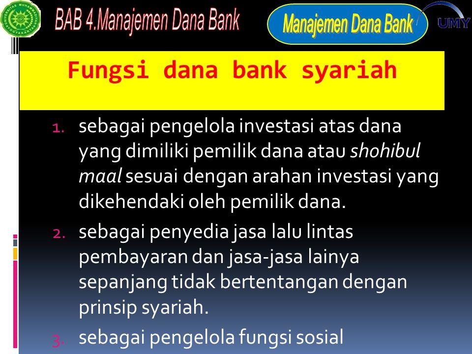 Fungsi dana bank syariah 1.