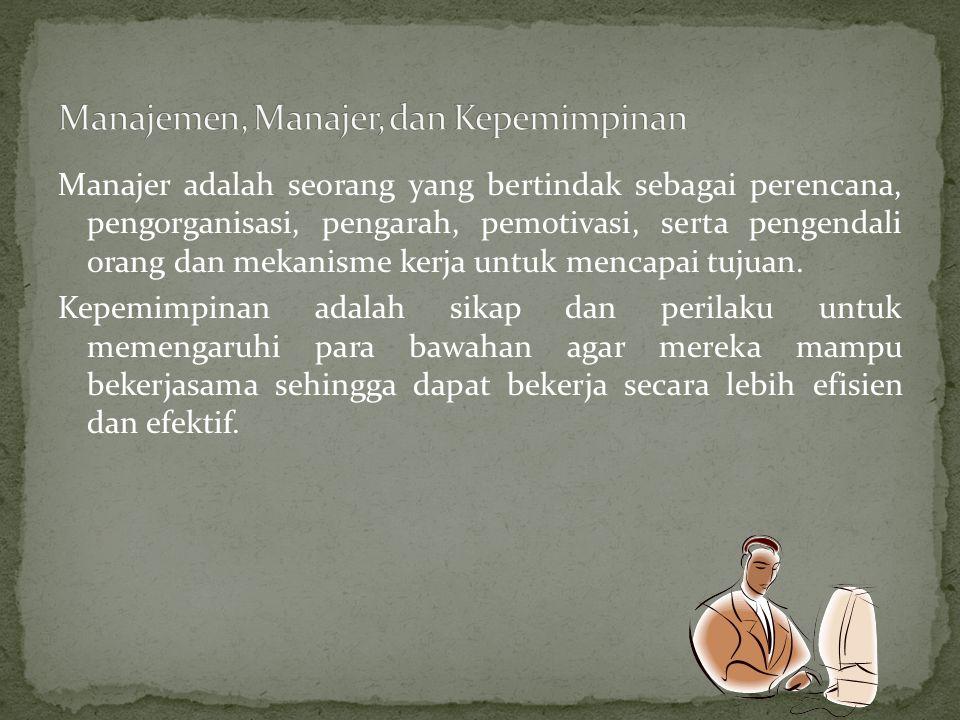 Manajer adalah seorang yang bertindak sebagai perencana, pengorganisasi, pengarah, pemotivasi, serta pengendali orang dan mekanisme kerja untuk mencap