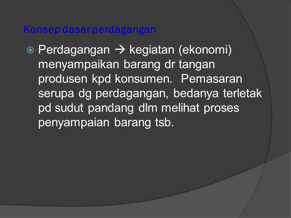 Konsep Dasar Perdagangan • Dagang  pekerjaan yg berhubungan dg menjual dan membeli barang utk memperoleh keuntungan • Perdagangan  perihal dagang / urusan seluk beluk perdagangan.
