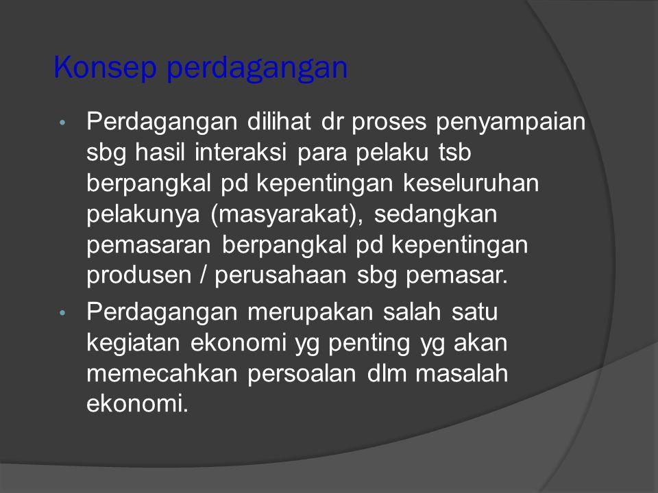 Konsep dasar perdagangan  Proses penyampaian barang tsb dilihat dr sudut pelakunya yg terdiri dari: 1) Produsen perusahaan (company = C1) 2) Mitra usaha (client= C2, yg terdiri dari perantara = C2a, pemasok = C2b, dan penunjang / bank, transportasi dsb = C2c 3) Pesaing (competitor = C3) 4) Konsumen (consummer = C4).