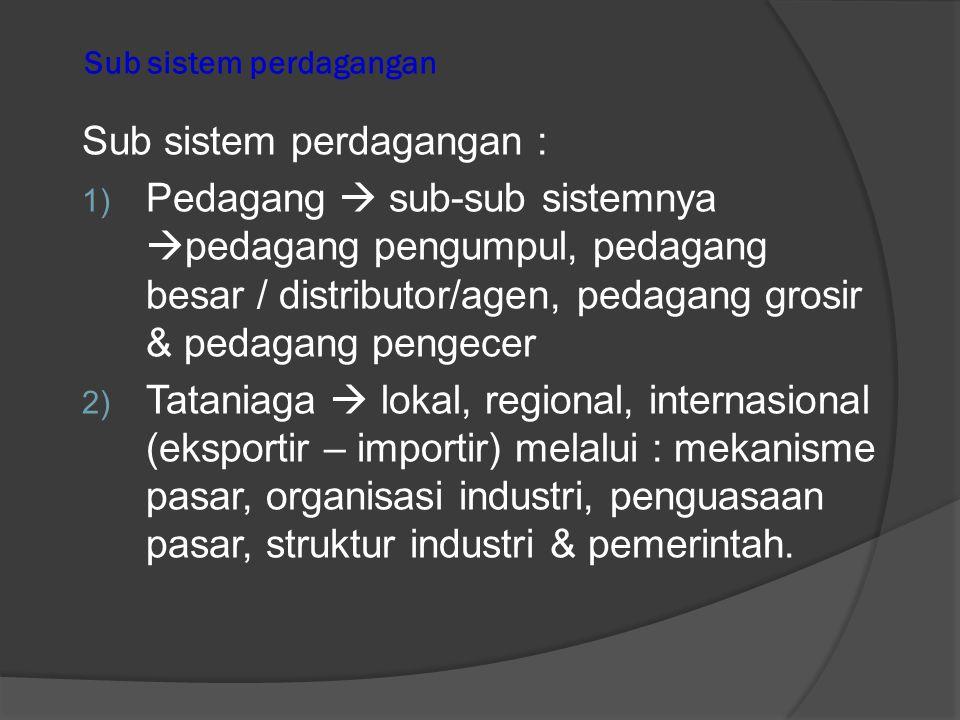 Perdagangan sebagai suatu sistem  Perdag sbg suatu sistem  Merupakan kumpulan dr unsur-2 (sub-sistem) secara terpadu yg menimbulkan suatu proses dlm