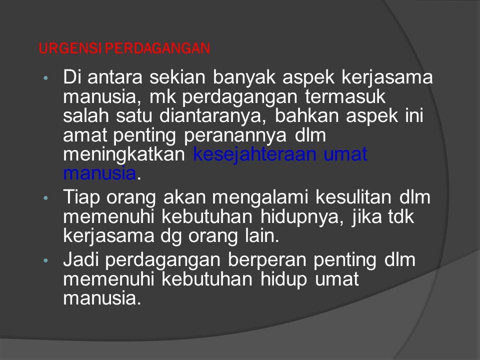 FUNGSI PENUNJANG PERDAGANGAN 1) Fungsi promosi 2) Fungsi pembiayaan / permodalan 3) Standarisasi 4) Pengemasan 5) Metrologi dll Yang tujuannya utk memperlancar fungsi pokok perdagangan
