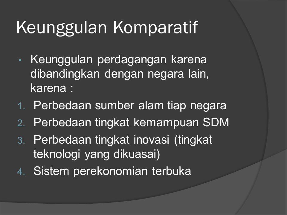 Keunggulan Komparatif • Keunggulan perdagangan karena dibandingkan dengan negara lain, karena : 1.