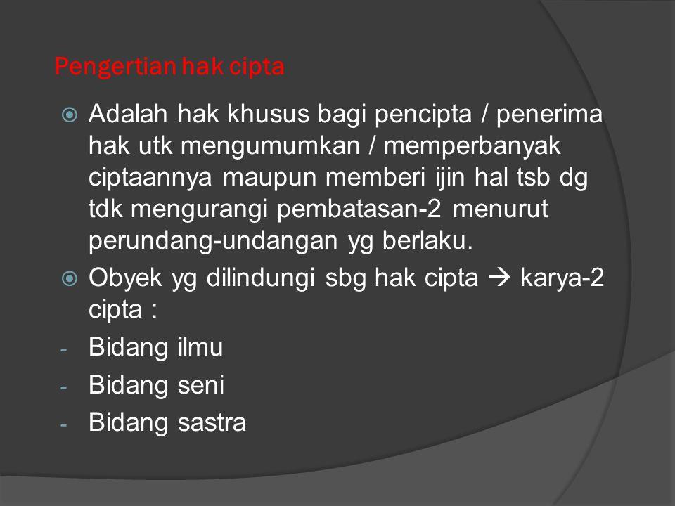 Hak atas kekayaan intelektual (HAKI) HAKI meliputi:  Hak cipta (property right)  Hak milik perindustrian (industrial property right)  (a) Hak paten