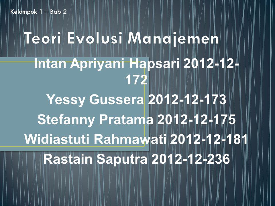Intan Apriyani Hapsari 2012-12- 172 Yessy Gussera 2012-12-173 Stefanny Pratama 2012-12-175 Widiastuti Rahmawati 2012-12-181 Rastain Saputra 2012-12-236 Kelompok 1 – Bab 2