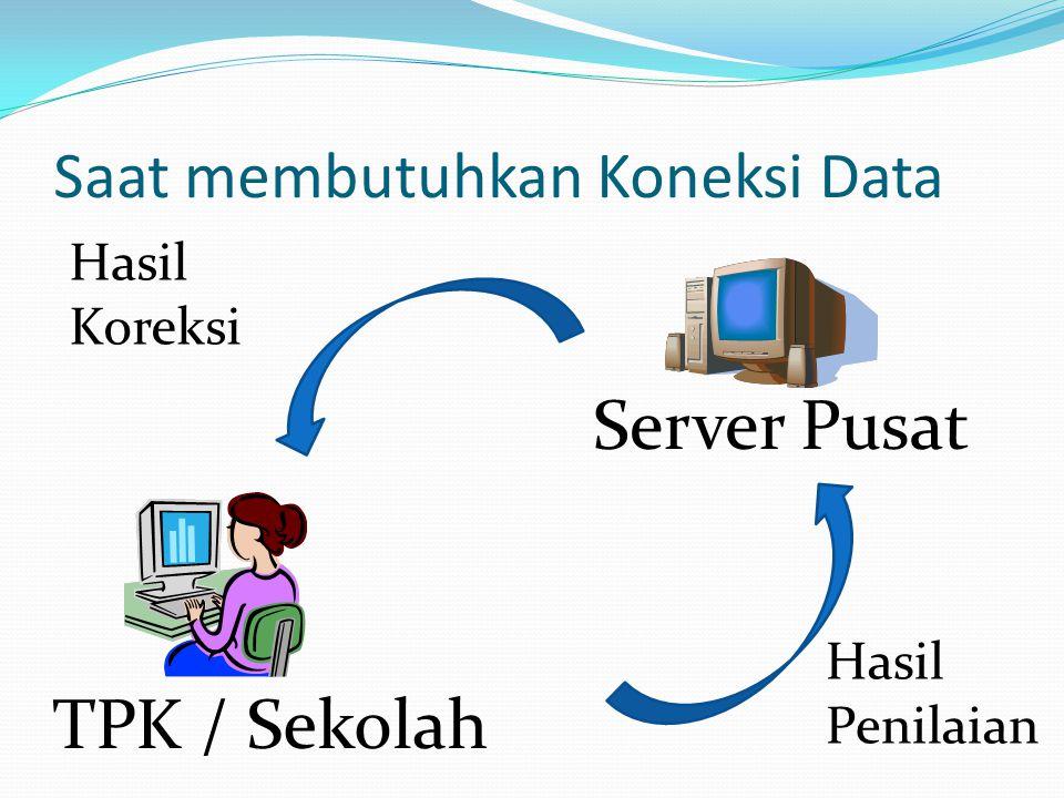 Saat membutuhkan Koneksi Data Server Pusat TPK / Sekolah Hasil Penilaian Hasil Koreksi