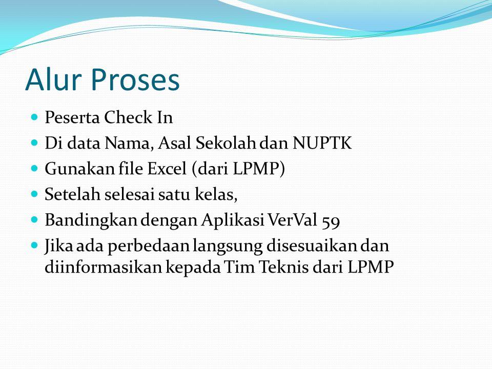 Alur Proses  Peserta Check In  Di data Nama, Asal Sekolah dan NUPTK  Gunakan file Excel (dari LPMP)  Setelah selesai satu kelas,  Bandingkan dengan Aplikasi VerVal 59  Jika ada perbedaan langsung disesuaikan dan diinformasikan kepada Tim Teknis dari LPMP