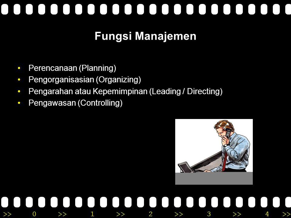 >>0 >>1 >> 2 >> 3 >> 4 >> Fungsi Manajemen •Perencanaan (Planning) •Pengorganisasian (Organizing) •Pengarahan atau Kepemimpinan (Leading / Directing)