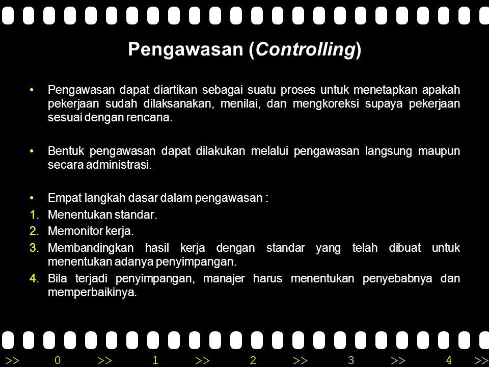 >>0 >>1 >> 2 >> 3 >> 4 >> Pengawasan (Controlling) •Pengawasan dapat diartikan sebagai suatu proses untuk menetapkan apakah pekerjaan sudah dilaksanak