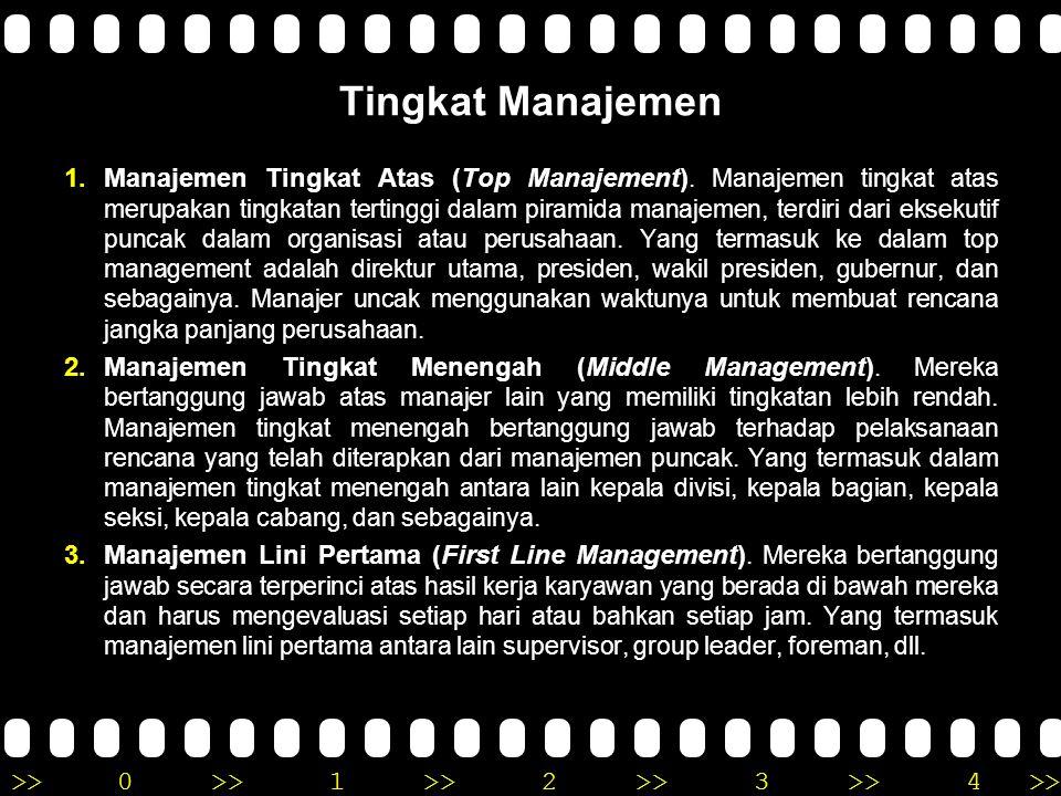 >>0 >>1 >> 2 >> 3 >> 4 >> Tingkat Manajemen 1.Manajemen Tingkat Atas (Top Manajement). Manajemen tingkat atas merupakan tingkatan tertinggi dalam pira
