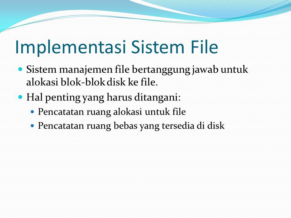 Implementasi Sistem File  Sistem manajemen file bertanggung jawab untuk alokasi blok-blok disk ke file.  Hal penting yang harus ditangani:  Pencata