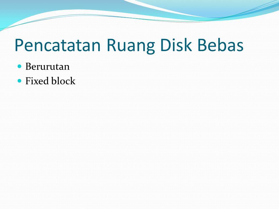Pencatatan Ruang Disk Bebas  Berurutan  Fixed block