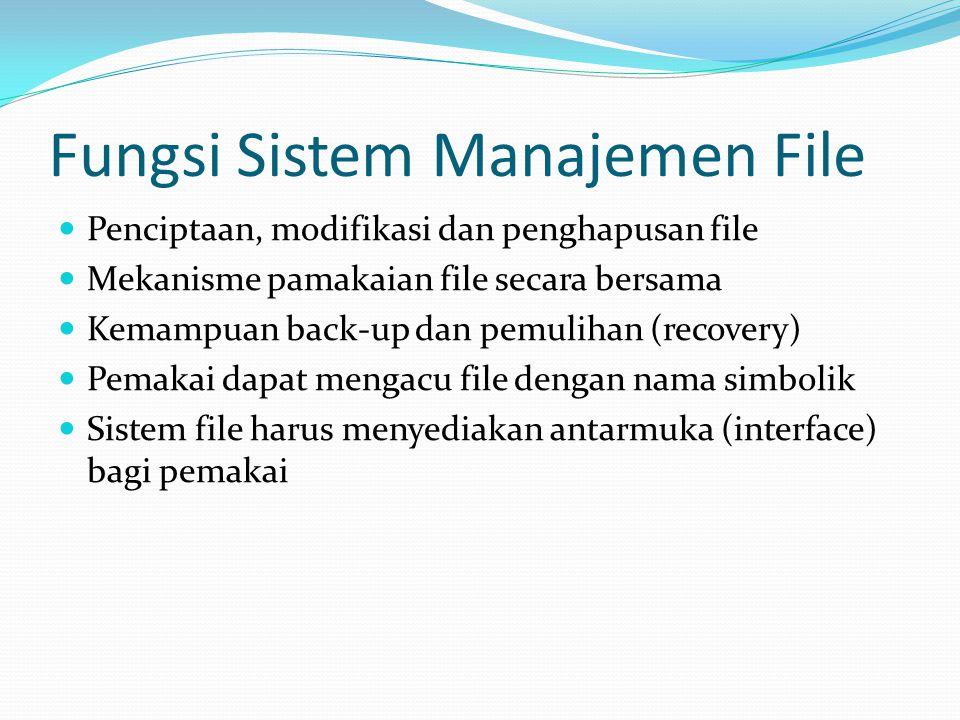 Fungsi Sistem Manajemen File  Penciptaan, modifikasi dan penghapusan file  Mekanisme pamakaian file secara bersama  Kemampuan back-up dan pemulihan