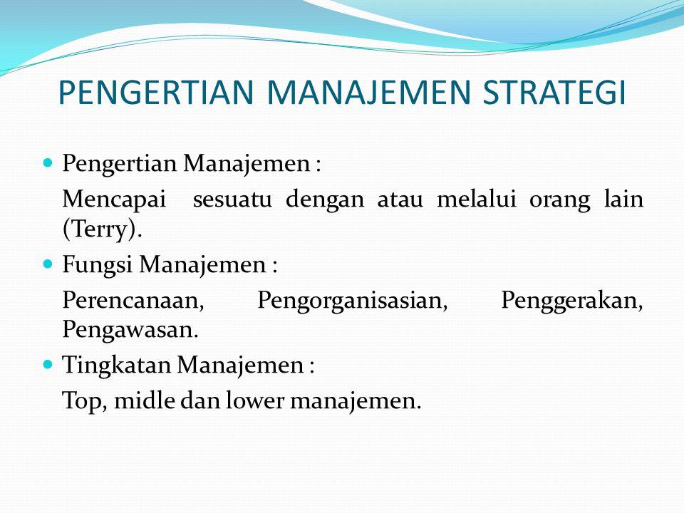 PENGERTIAN MANAJEMEN STRATEGI  Pengertian Manajemen : Mencapai sesuatu dengan atau melalui orang lain (Terry).  Fungsi Manajemen : Perencanaan, Peng