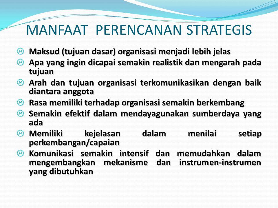 MANFAAT PERENCANAN STRATEGIS L Maksud (tujuan dasar) organisasi menjadi lebih jelas L Apa yang ingin dicapai semakin realistik dan mengarah pada tujua