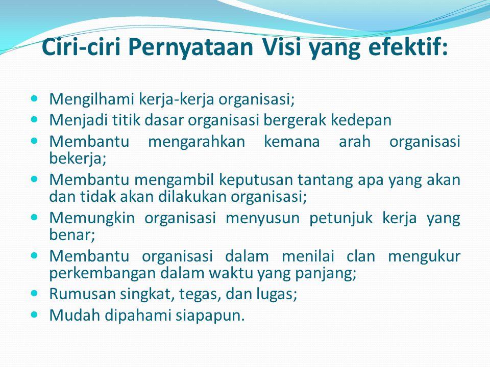 Ciri-ciri Pernyataan Visi yang efektif:  Mengilhami kerja-kerja organisasi;  Menjadi titik dasar organisasi bergerak kedepan  Membantu mengarahkan