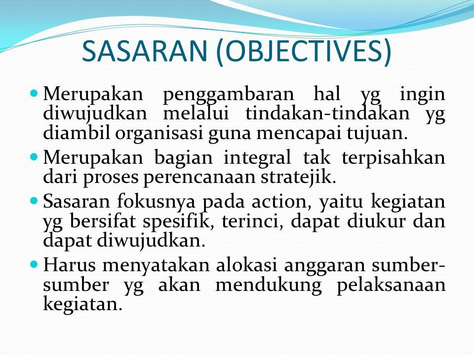 SASARAN (OBJECTIVES)  Merupakan penggambaran hal yg ingin diwujudkan melalui tindakan-tindakan yg diambil organisasi guna mencapai tujuan.  Merupaka