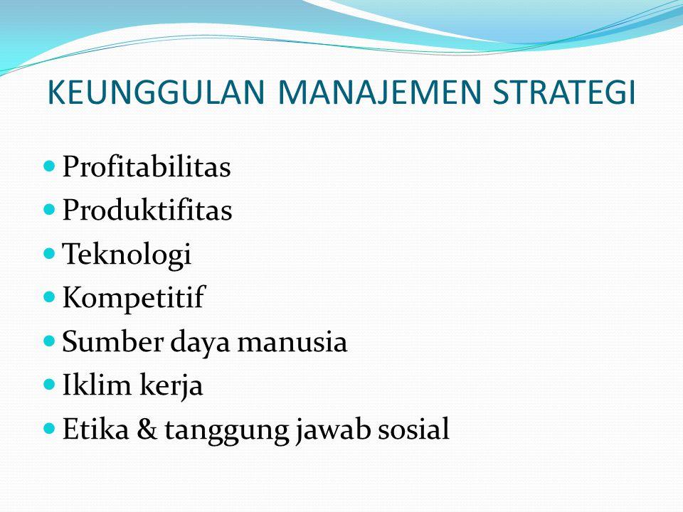 MAKNA STRATEGIS KEKUATAN & KELEMAHAN  Kekuatan mempunyai makna strategis apabila memberikan keunggulan kompetitif dan memberikan kemampuan kepada organisasi mempertahankan posisinya.