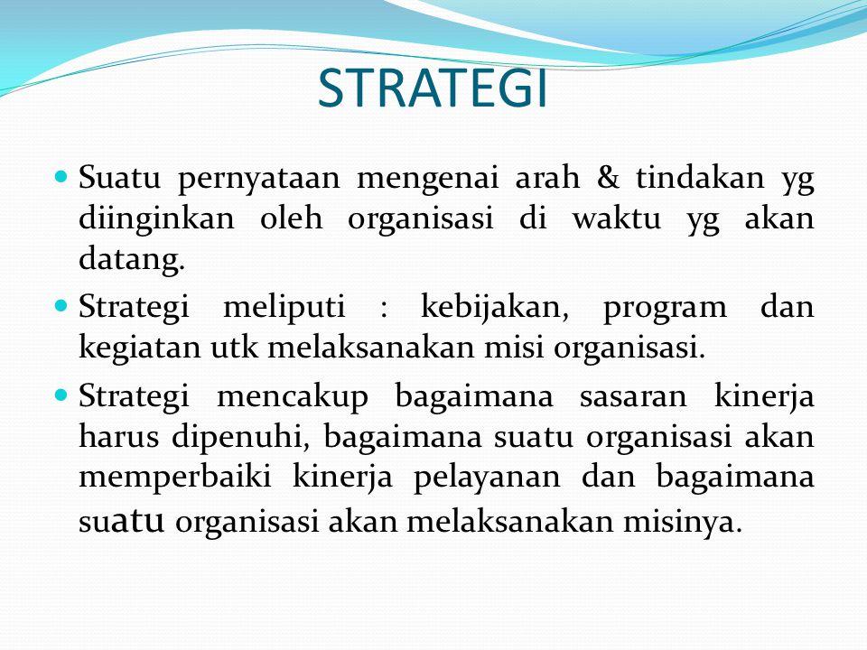 STRATEGI  Suatu pernyataan mengenai arah & tindakan yg diinginkan oleh organisasi di waktu yg akan datang.  Strategi meliputi : kebijakan, program d