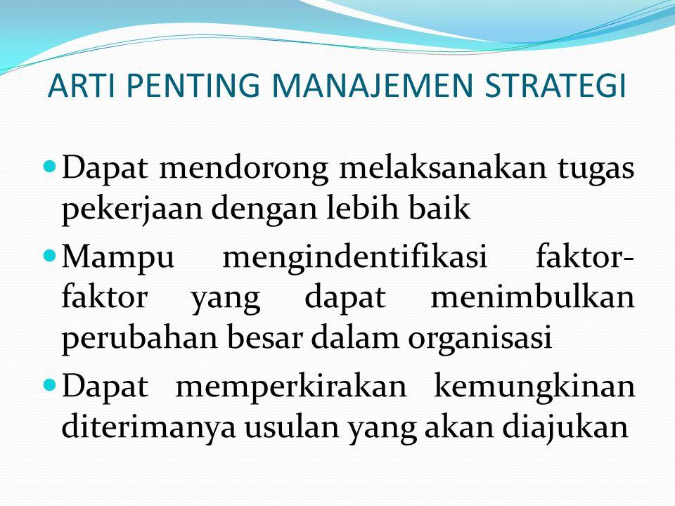 PROSES MANAJEMEN STRATEGI  Formulasi strategi  Implementasi strategi  Pengendalian & evaluasi strategi
