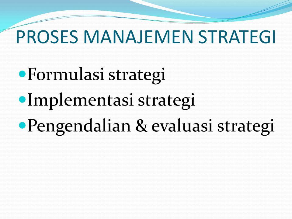 PROSES MANAJEMEN STRATEGI  Analisis lingkungan  Perumusan visi, misi dan sasaran  Analisis dan pemilihan strategi  Implementasi strategi  Pengendalian dan evaluasi strategi