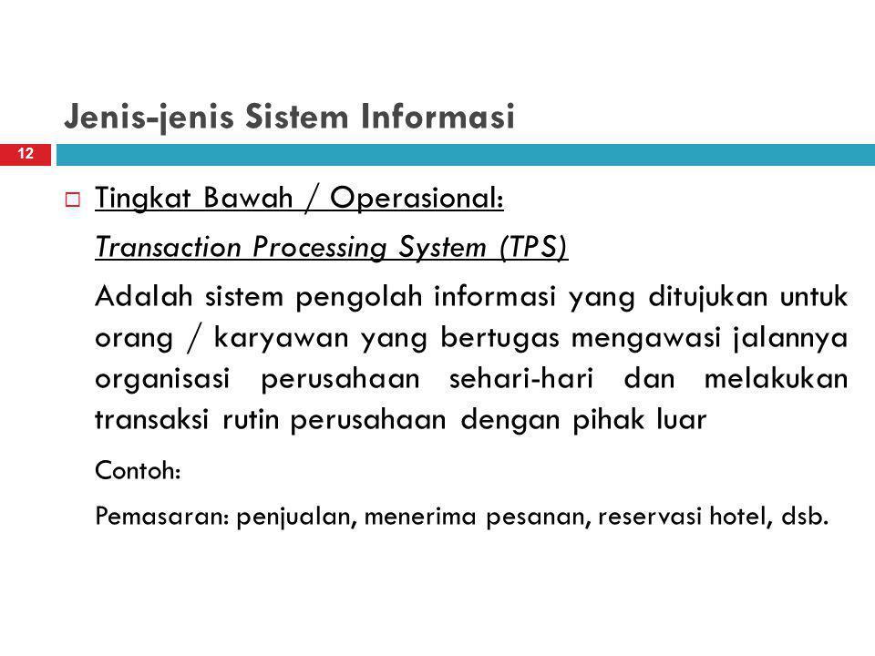 Jenis-jenis Sistem Informasi  Tingkat Bawah / Operasional: Transaction Processing System (TPS) Adalah sistem pengolah informasi yang ditujukan untuk orang / karyawan yang bertugas mengawasi jalannya organisasi perusahaan sehari-hari dan melakukan transaksi rutin perusahaan dengan pihak luar Contoh: Pemasaran: penjualan, menerima pesanan, reservasi hotel, dsb.