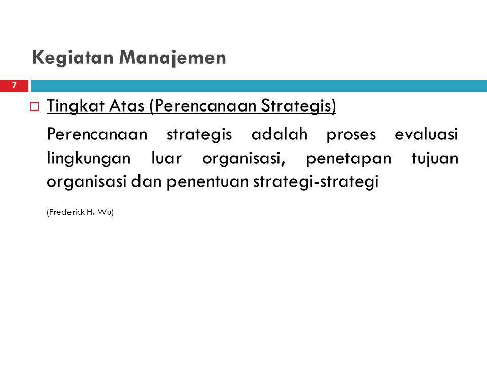 Kegiatan Manajemen  Tingkat Atas (Perencanaan Strategis) Perencanaan strategis adalah proses evaluasi lingkungan luar organisasi, penetapan tujuan organisasi dan penentuan strategi-strategi (Frederick H.